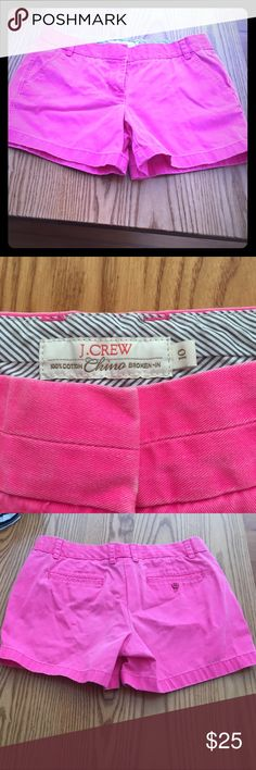 JCREW chino 100% cotton shorts in hot pink 100 percent cotton super cute hot pink shorts. Please note this is the brand of JCREW that is called 'broken-in' hence the more worn in look. Size 10 J. Crew Shorts