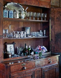 antique buffet cabinet set up as a bar Decor, Bar Decor, Home Projects, Declutter Your Home, Cabinet, Barn Kitchen, Bars For Home, Country Kitchen, Kitchen Styling