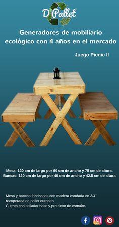 Mesa y bancas en terminado natural semi mate, fabricado en pallet europeo
