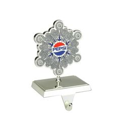 """6.5"""" Plated Pepsi Snowflake Christmas Stocking Holder with European Crystals"""