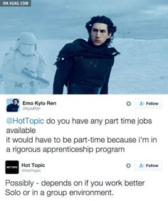 (Star Wars Spoilers) Hot Topic responds to Kylo Ren's job application.