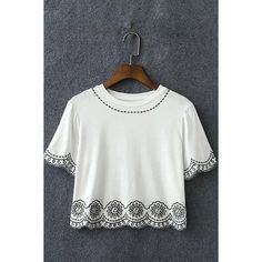 Yoins White Embroidery Short Sleeve Cropped T-shirt ($18) ❤ liked on Polyvore featuring tops, t-shirts, shirts & tops, white, white crop top, white denim shirt, tee-shirt, lightweight t shirts and embroidered t shirts