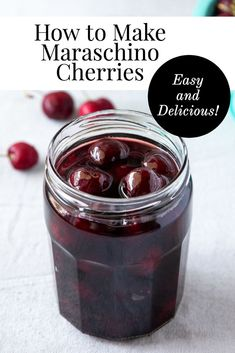 How to Make Maraschino Cherries - these unbelievably delicious homemade maraschino cherries are so easy! Don't buy those crazy dyed ones from the store, make your own! Cherry Recipes, Fruit Recipes, Nutella Recipes, Alcohol Recipes, Canning Recipes, Bourbon Cherries, Canned Cherries, Marachino Cherries, Jam And Jelly