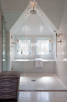 Bathroom Shower Ideas. Exposed thermostatic shower. Master Bath Shower with Exposed Thermostatic Shower. Alisberg Parker.
