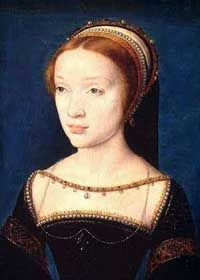 Daughter of Queen Claude and Francis I,   Madeleine de Valois, Queen consort of Scotland to James V, son of Princess Mary Rose Tudor (Princess Margaret Tudor in the series) by Francois Clouet, 1537