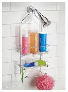 Dorm Shower Caddie Mirror Caddy Durable Steel Chrome Suction Cups 6 Hooks #InterDesign