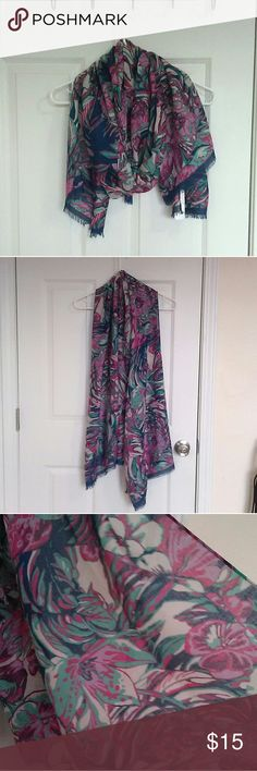 NWT Charming Charlie Floral Scarf NWT Charming Charlie Floral Scarf. NO FLAWS. NEVER worn. No Rips, Stains, etc. 100% polyester.  Reasonable offers considered! NO TRADES!!!! Charming Charlie Accessories Scarves & Wraps