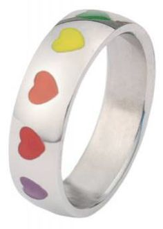 Rainbow Smooth Hearts Ring - Lesbian Pride