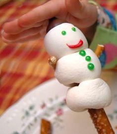 pretzel rod snowman