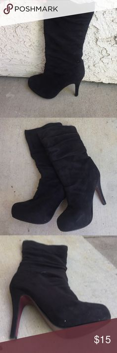 Super cute black boots Black suede like slouch boots, mid-calf height size 5.5 with a stiletto heel Shoes Heeled Boots