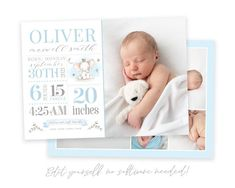 Announce the arrival of your new baby to family and friends with this cute stats birth announcement. This customizable photo card is the perfect way to share your new baby's photos with friends and family so they can delight in your precious new addition! Easily edit in your web browser, no software Newborn Birth Announcements, Baby Boy Birth Announcement, Birth Announcement Template, Announcement Cards, Christmas Card Template, Christmas Photo Cards, Holiday Cards, Baptism Program, Heart Designs