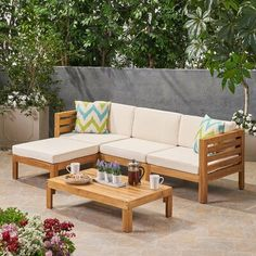 Longshore Tides Reina Outdoor 5 Piece Sectional Seating Group with Cushions Frame Color/Cushion Color: Teak Frame/Dark Teal Cushion Outdoor Sofa Sets, Outdoor Furniture Sets, Backyard Furniture, Patio Sets, Teal Cushions, Three Seater Sofa, Wood Sofa, Wood Patio, Teak