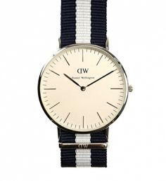 Glasgow Watch by Daniel Wellington $189 | We dare anyone not to fall in love with these preppy cool time pieces. The refined and minimalist watches by Daniel Wellington are designed for the gentleman with classic sensibility- the striped Nato straps originated with the British Navy divers. Even Bond wore one | GOTSTYLE.ca