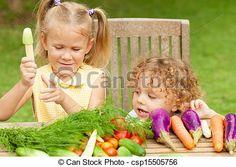 Stock de fotos dos, feliz, poco, niños, vegetales, concepto, sano, alimento- - Imagenes almacenadas, imágenes, fotografias libres de derechos, inventario de fotografo, inventario de fotografos, retrato, retratos, grafico, graficos