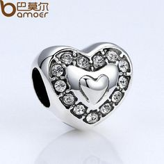 BAMOER Brand New Heart Crystals Charms For Women Bracelets Fashion Jewelry DIY Accessories PA5300