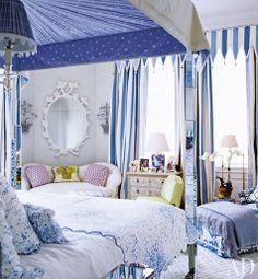 A blue-and-white master bedroom By Mario Buatta. Dream Bedroom, Home Bedroom, Bedroom Decor, Master Bedroom, Shabby Bedroom, Shabby Cottage, Design Bedroom, Kids Bedroom, Shabby Chic