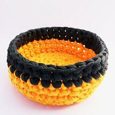 Apricot orange yellow & gray storage crochet by ILoVeBarushka
