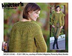 "Artichoke Twist by Marlaina ""Marly"" Bird - knit top-down sweater using Bijou Bliss (yak/cormo blend)"