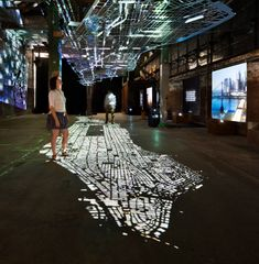 This is how it looks with Manhattan at your feet. A floating replica of Manhattan's road infrastructure that was on display at an exhibit in NYC. #light #art