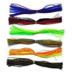 6 Bundles 40-60 Strands Fishing Silicone Skirts Bass Lure DIY Accessories Spinner Rubber Jig Carp Spinner Bait Fly Fishing Lures #Affiliate