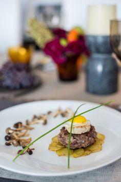 Duck burger, Potato Rosette, Foie Gras, Fried Quail Egg.