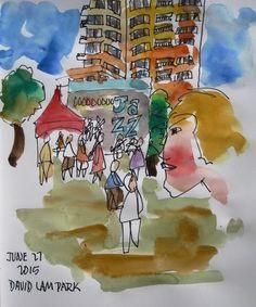 The view from the Beer Garden. Urban Sketchers, Beer Garden, Vancouver, Jazz, Painting, Draw, Parties, Jazz Music, Painting Art