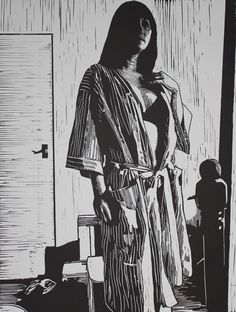 Sunday Morning - Mark Rowden - Approx 60 x 50cm Lino print 1of1 - 2013.JPG 768×1,017 pixels
