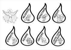 vlammen met de gaven van de Heilige Geest kunnen gebruikt worden bij de knutsel Duif met vlammen van http://www.catholicicing.com/holy-spirit-craft-make-a-dove-from-a-paper-plate/