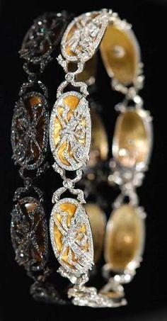 Two Tone Diamond Yellow Enamel Bracelet USA 1910's.