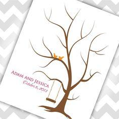 Wedding Tree Thumbprint Guest book birds by EverLovingAdelaide, $29.00