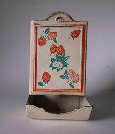 Vintage Match Holder Safe White with Red Strawberries @iloveoldstuff #collectibles #kitchenware