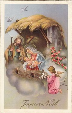 Old Christmas Post Сards — The Nativity, 1957 Religious Christmas Cards, Christmas Nativity Scene, Christmas Scenes, Christmas Pictures, Nativity Scenes, Christmas Post, Antique Christmas, Vintage Christmas Cards, Christmas Greetings