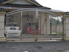 48 Steel Gate Design Idea is Perfect for Your Home - decortip Front Wall Design, House Fence Design, House Main Gates Design, Fence Gate Design, Iron Gate Design, Main Door Design, Entrance Design, Steel Grill Design, Steel Railing Design