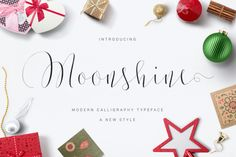 Introducing Moonshine Script Moonshine Script is a new modern calligraphy Typeface Fonts, combines from copperplate to contemporary typeface, classic and elegant touch. Moonshine Script