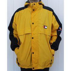 Tommy Hilfiger Sailing Gear Big Logo Windbreaker Size XL ) ❤ liked on Polyvore featuring activewear, activewear jackets, jackets, logo sportswear and tommy hilfiger