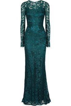 DOLCE & GABBANA Lace Gown    <3 F/W2013  Fall under the spell of darkly romantic lace with Dolce & Gabbana's floor-grazing deep-teal gown. Sheer yet sophisticated, opt for all-out opulence by wearing it with a boldly embellished clutch and artisanal earrings.