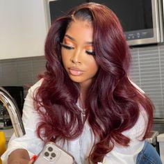 Baddie Hairstyles, Weave Hairstyles, Pretty Hairstyles, Black Women Hairstyles, Burgundy Hair, Blue Hair, Curly Hair Styles, Natural Hair Styles, Hair Laid