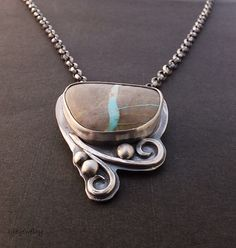 Turquoise Jewelry, Silver Necklace, Turquoise Necklace, Royston Ribbon Turquoise, Sterling Silver, OOAk