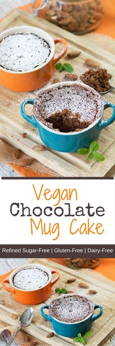 Vegan Chocolate Mug Cake Recipe These are probably the tastiest #vegan and #glutenfree chocolate mug cakes you are ever going to taste ;-) They are fluffy, moist and whisked together in a breeze, that alone qualifies them as the perfect treat for when