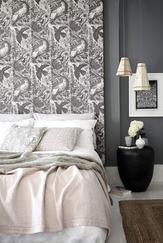 For a quick and cost-effective headboard, simply stretch fabric over a wooden frame and staple in place. Make it as tall as you dare for added impact. Stylish Bedroom, Modern Bedroom, Bedroom Decor, Master Bedroom, Bedroom Ideas, Wall Decor, Beautiful Bedrooms, Beautiful Homes, House Beautiful