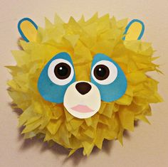 Special agent oso decoration made by myself. Yellow puff from party city, coloured paper from michaels. Super easy and fun!