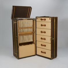 "Introducing the extremely rare Louis Vuitton ""Grand Wardrobe Trunk"". Steamer trunks, which are sometimes referred to as flat-tops, first appeared in the late 1870s, although the greater bulk of them date from the 1880-1920 period. An orthodox name for this type of trunk would be a ""packer"" trunk, but since it has been widely called a steamer for so long, it is now a hallmark of this style."