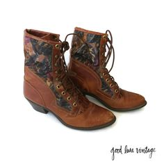 Tapestry Boots Roper Boot Lace Up Western Southwestern Booties Kiltie Fringe Brown Leather Capezio Size 8 1980s 80s by GoodLuxeVintage on Etsy