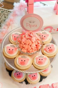 """Photo 13 of Birthday Party / Birthday """"Piper's Pink Piggie Princess… Pig Cookies, Cupcake Cookies, Cookies Et Biscuits, Pig Birthday, 2nd Birthday Parties, Birthday Crowns, Birthday Cakes, Pig Crafts, Birthday Party Centerpieces"""