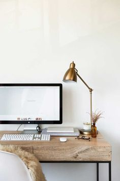 Wood desk, gold accents