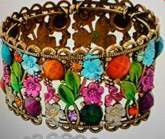 Multi Color Ladies Womans Beautiful Flower Cuff Bangel Jewelry Bracelet