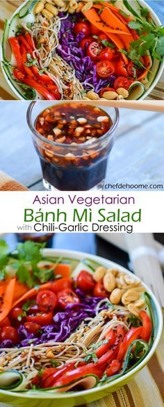 Asian Vegetarian Gluten Free Banh Mi Salad with Sweet and Spicy Chili-Garlic Soy Dressing and Can be made VEGAN | chefdehome.com