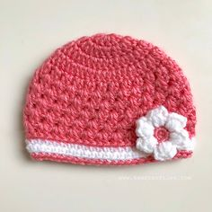 """""""The Baby's Lacy Springtime Beanie pattern provides instructions for crocheting a feminine and delicate beanie with a beautiful flower applique for newborns to three-month-old babies. Crochet Beanie Pattern, Crochet Baby Hats, Baby Blanket Crochet, Crocheted Headbands, Crochet Designs, Crochet Patterns, Hat Patterns, Crochet Stitches, Softies"""