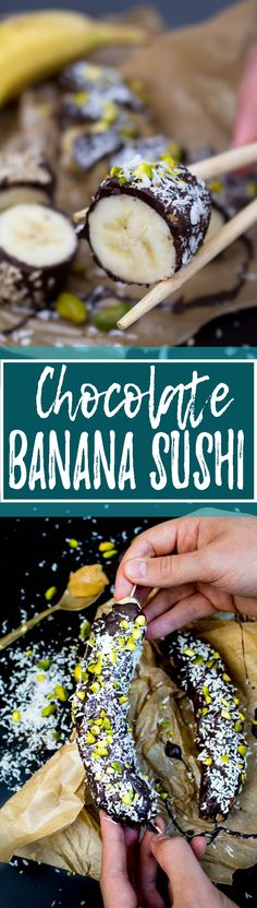 This vegan banana sushi is covered in chocolate and topped with pistachios, coconut flakes, chia and sesame seeds. It's one of my all-time favorite snacks! So delicious and simple! <3 | veganheaven.org