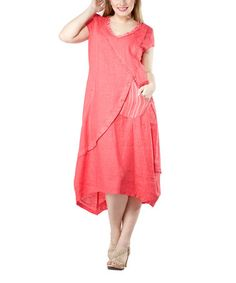 Love this Coral Linen Dress - Women & Plus on #zulily! #zulilyfinds